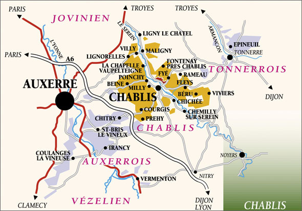 Map over the Chablis area.