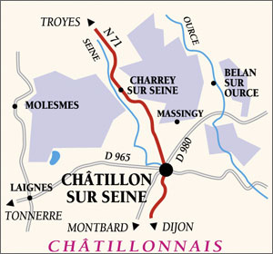 Map over the Châtillonnais.