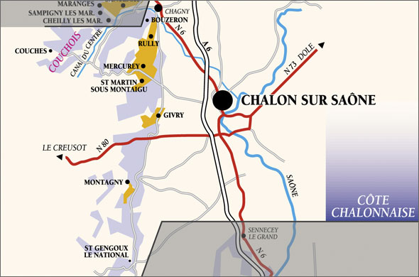 Map over the Côte Chalonnaise.
